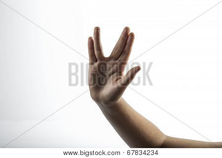 Young Hands Make Vulcan Salute