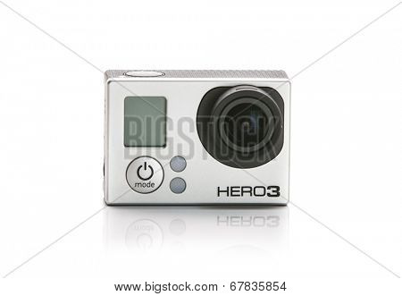 St Louis Missouri-June 26 2014: Photo of GoPro Hero 3 Camera. Gopro went public June 26 2014 on the NYSE as symbol GPRO. Best selling action mini HD camera in the world.