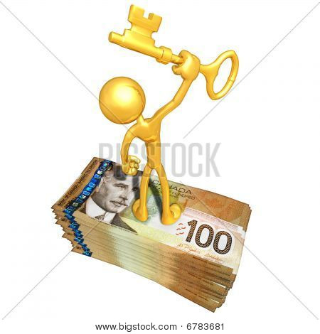 Gold Guy With Money And Gold Key