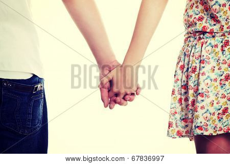 Young couple are standing a back side and holding hands.