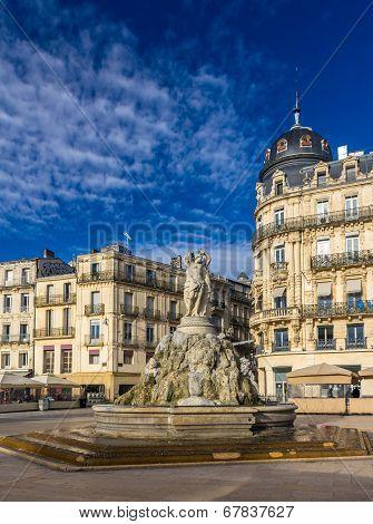 Fontaine Des Trois Graces On Place De La Comedie In Montpellier, France