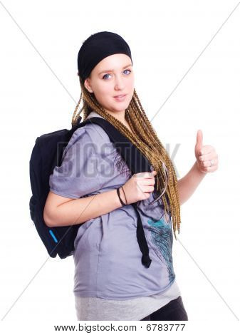 Teenager Student Holding Backpack And Showing Ok Sign Over White Background