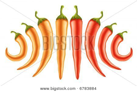 Hot Red And Yellow Peppers