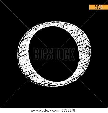 art simple classical alphabet in vector, chalk white handmade font on black back, letter O
