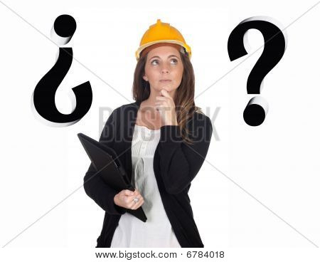 Young Engineer With Pensive Face And Security Helmet