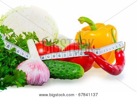 Centimeter And Healthy Food On A White Background