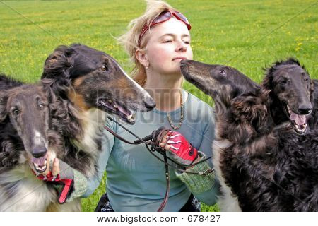 Cynologist With The Thoroughbred Borzoi Dogs