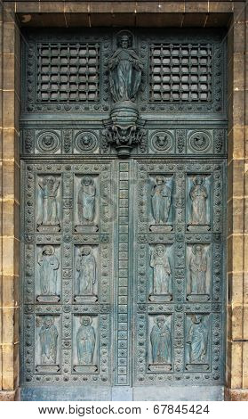 PARIS, FRANCE - NOV 10, 2012: Twelve apostles, entrance door of Saint-Vincent-de-Paul Church (design Jean-Baptiste Lepere, was built during 1824 - 1844) dedicated to Saint Vincent de Paul
