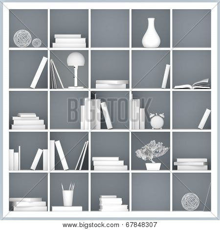 White Bookshelves Illustration