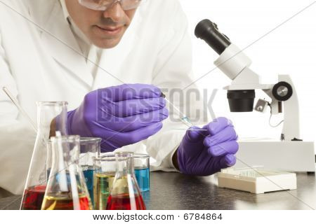 Scientist Preparing Slide
