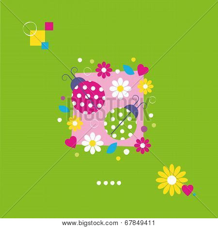 cute ladybugs greeting card
