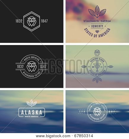 Trendy Retro Vintage Insignias Bundle. Vector shape. Fully editable in Illustrator. Only free font were used.