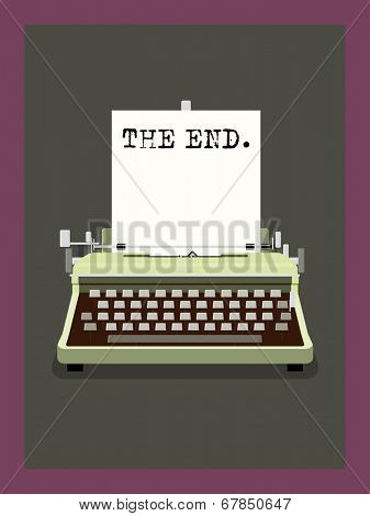 The End - Retro Typewriter Vector Illustration, Phrase on sheet of paper in vintage typewriter.