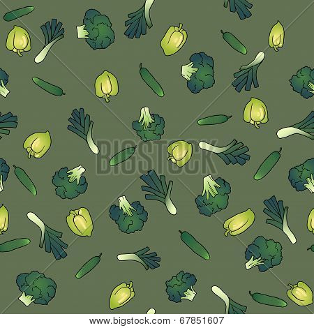 green seamless pattern of broccoli bell pepper and cucumber
