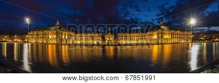 Evening Panorama Of Place De La Bourse In Bordeaux