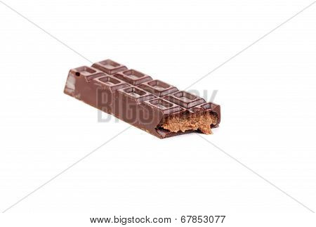 Dark chocolate bar with creamy filling.