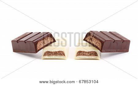 Chocolate bar with sweet creamy filling.