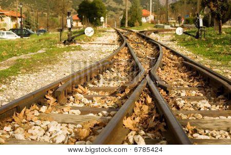 Rails Of Famous Diakofto-kalavrita Railway, A Historic 750 Mm Gauge Rack Railway. Photo Taken Near T