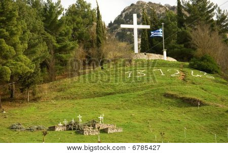 Memorial Site Of The Massacre In Kalavryta At Peloponnese