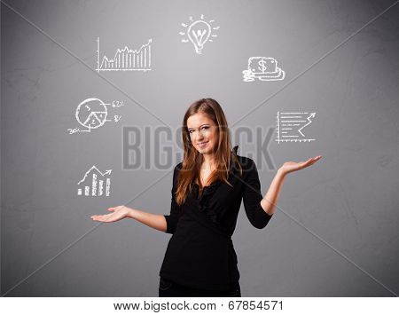 beautiful young woman standin and juggling with statistics and graphs