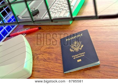 Us Passport At Foreign Immigration Counter