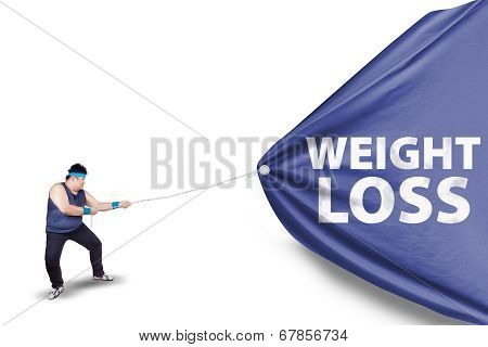 Fat Man Pulling A Weight Loss Banner 2