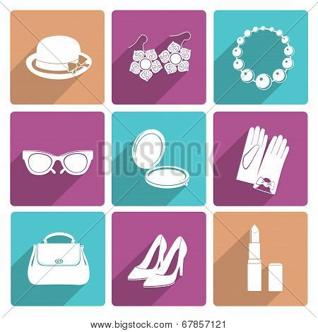 Woman Accessories Flat Icons Set