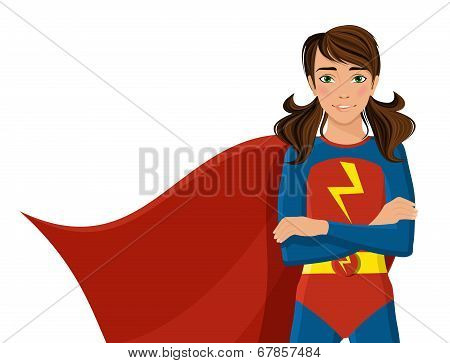 Girl in superhero costume