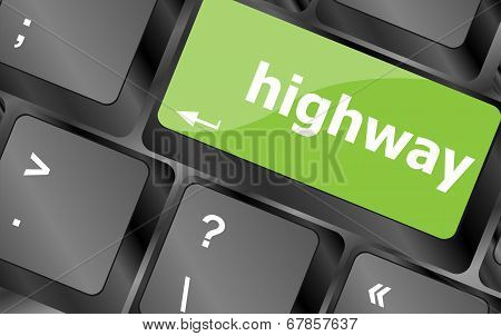 Highway Word On Computer Pc Keyboard Key