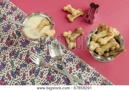 Bone Sugar Cookies And Condensed Milk For Children's Menu
