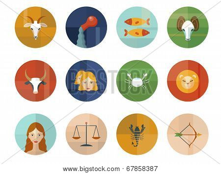 Set of Astrological Zodiac Symbols. Horoscope.