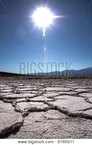 Crystalised Dry Salt Lake Bed In California