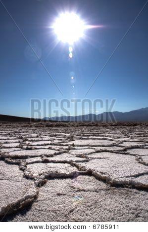 Crystalised Dry Salt Lake Bed In California