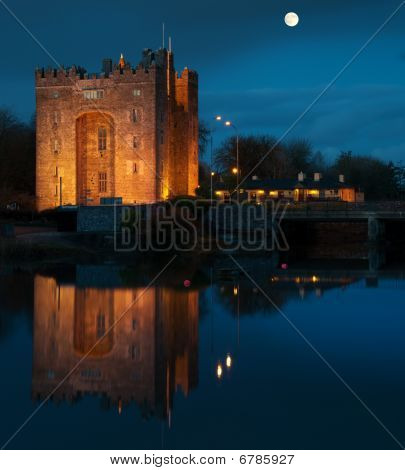 Breathtaking Bunratty Castle In West Of Ireland At Night
