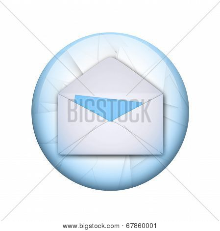 Open envelope. Spherical glossy button