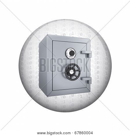 Safe box. Spherical glossy button