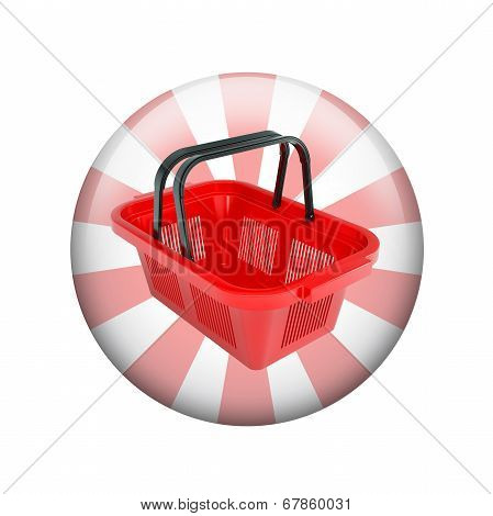 Shopping basket. Spherical glossy button