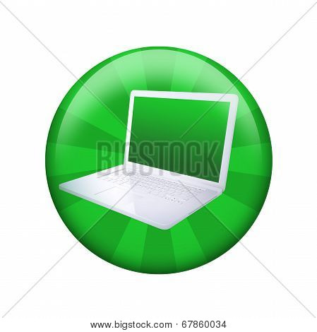 Open laptop. Spherical glossy button