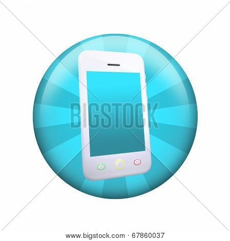White smart phone. Spherical glossy button