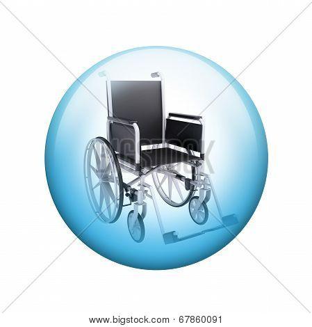 Black wheelchair. Spherical glossy button