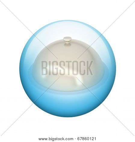 Dish with lid. Spherical glossy button
