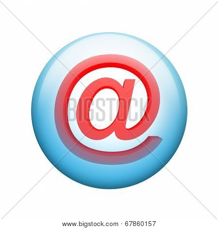 E-mail symbol. Spherical glossy button
