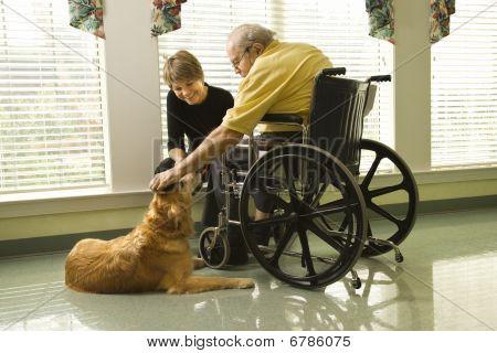 Anciano con perro de caricias de mujer