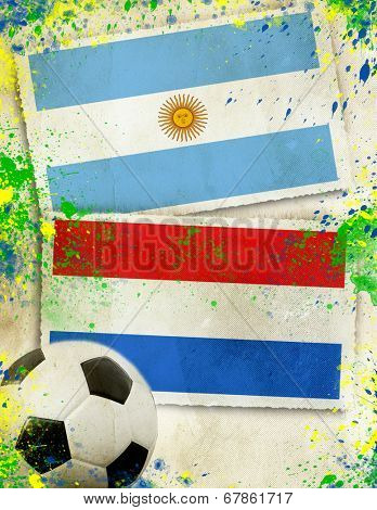 Argentina vs Netherlands soccer ball concept
