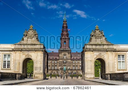 Entrance To Christiansborg Palace In Copenhagen, Denmark