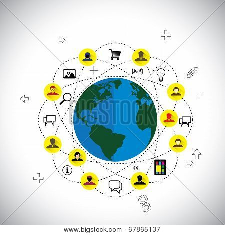 Social Media & Network Concept Vector Made Of Flat Design Icons