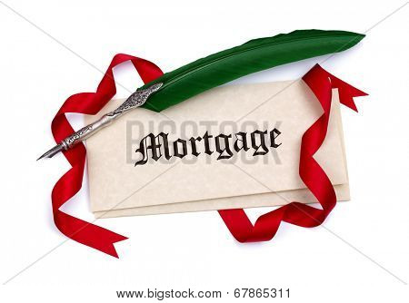 Mortgage document papers quill pen and red ribbon isolated on white
