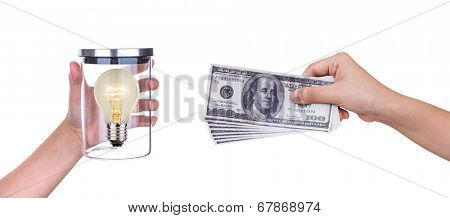 Exchange light bulb of idea and money