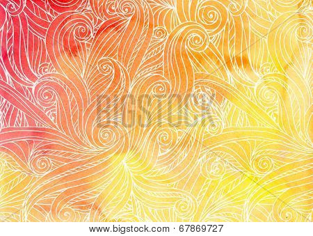Orange vector doodles on watercolor background