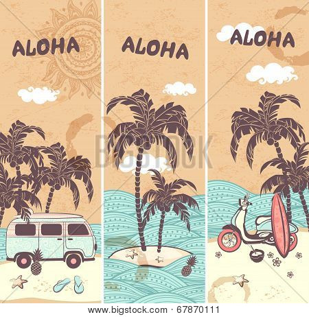 Vintage banners of the tropical island